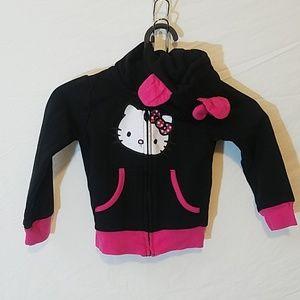 Hello Kitty Black Zippered Hoodie w/Ears & Bow